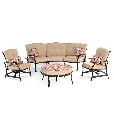 Hanover Traditions 4pc Seating Set w/Ottoman & Pillows