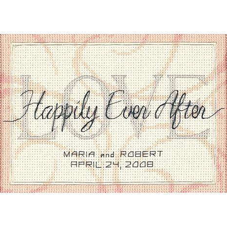 Happily Ever After Wedding CrossStitch- 7x5 in.