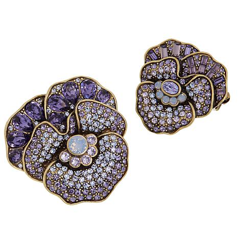 "Heidi Daus ""A Pleasing Pansy"" 2-piece Crystal Pin Set"