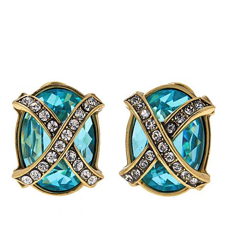 Heidi Daus Aqua-Color Crystal Collar Stud Earrings