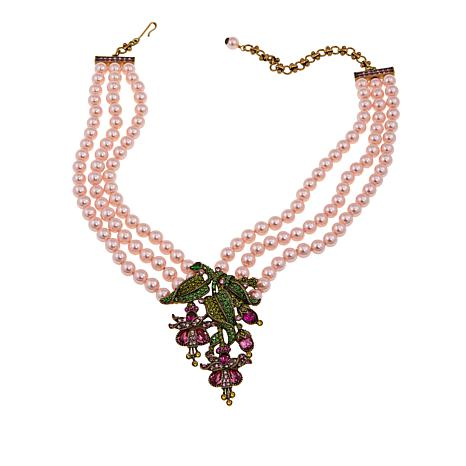 "Heidi Daus ""Beautiful Bleeding Heart"" 3-Strand Crystal Drop Necklace"