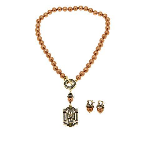 """Heidi Daus """"Classic Edition"""" Simulated Pearl Crystal Necklace & Ear..."""