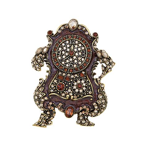 "Heidi Daus ""Cogsworth"" Crystal and Enamel Pin"