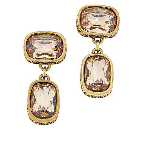 """Heidi Daus """"Double Play"""" Crystal Drop Earrings"""