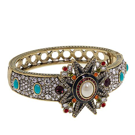 "Heidi Daus ""Elegant Emblem"" Crystal and Enamel Bangle Bracelet"