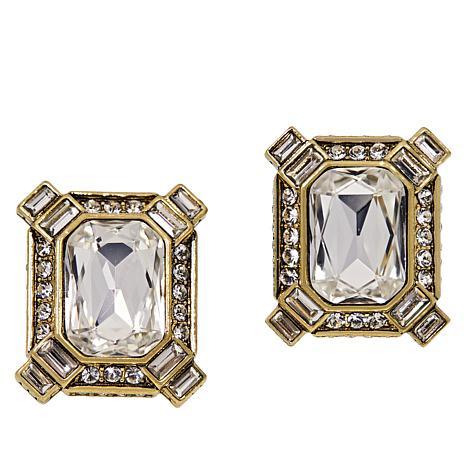 "Heidi Daus ""Estate Splendor"" Crystal Button Earrings"