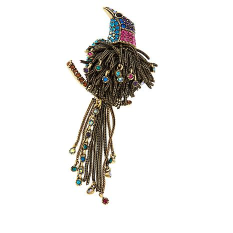 "Heidi Daus ""Fine Feathers"" Crystal-Accented Chain-Link Drop Pin"