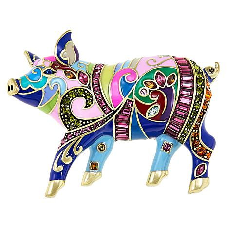 "Heidi Daus ""Fine Swine"" Enamel and Crystal Pin"