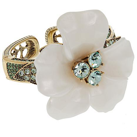 "Heidi Daus ""Glamorous Gardenia"" Resin and Crystal Bracelet"