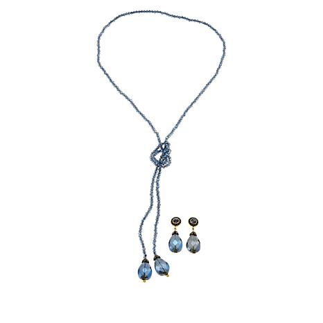 "Heidi Daus ""Lux Be a Lady"" Lariat Necklace and Earrings Set"