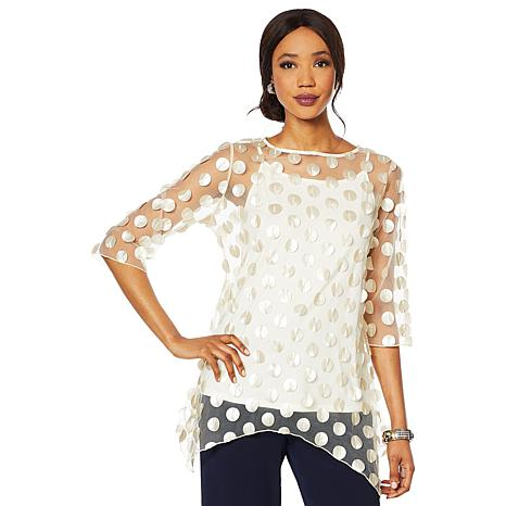 Heidi Daus Mesh Pailette Top with Cami
