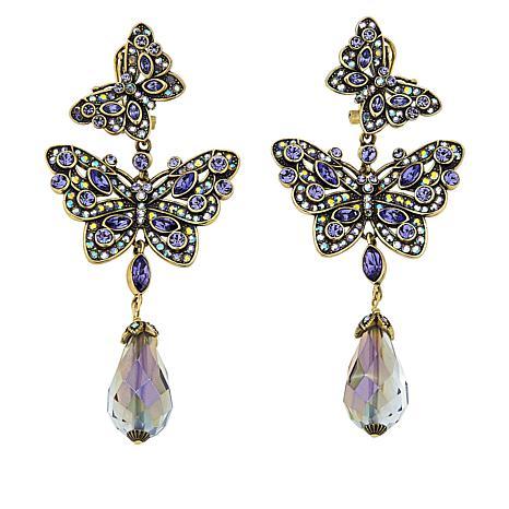 """Heidi Daus """"Mosaic Monarch"""" Crystal Drop Earrings"""
