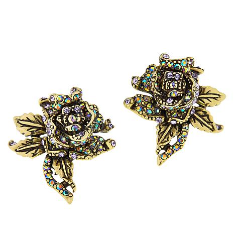 "Heidi Daus ""Rose Elegance"" Crystal Earrings"