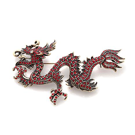 "Heidi Daus ""Shimmering Dragon"" Crystal Pin"