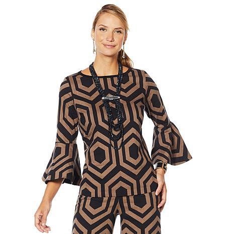 "Heidi Daus ""Simply Sensational"" Graphic Jacquard Bell-Sleeve Top"