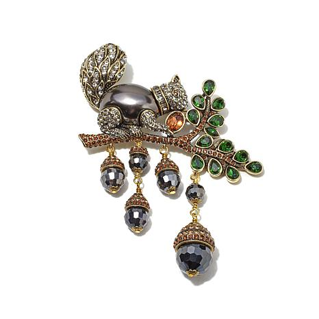 "Heidi Daus ""Squirreling Away"" Crystal Beaded Drop Pin"