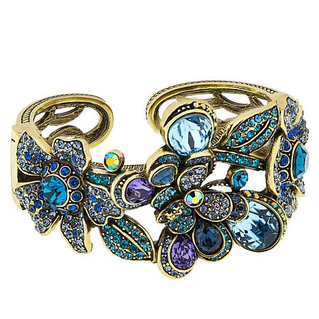 "Heidi Daus ""The Dance of the Butterflies"" Crystal Hinged Cuff Bracelet"