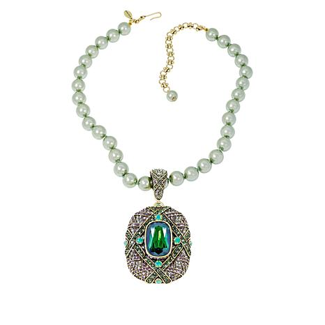 "Heidi Daus ""Triple Play"" Crystal Enhancer Pendant and Beaded Necklace"