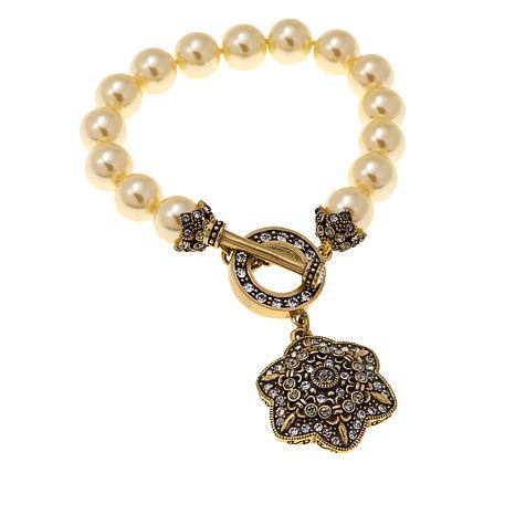 """Heidi Daus """"Unforgettable Lavaliere"""" Beaded Crystal Toggle Bracelet"""