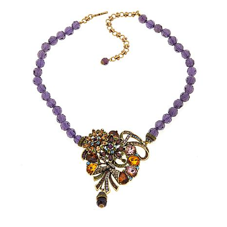 "Heidi Daus ""Whimsical Floral"" Beaded Drop Necklace"