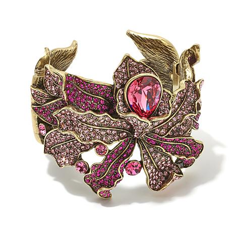 "Heidi Daus ""Wild Orchid"" Crystal-Accented Cuff Bracelet"