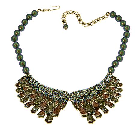 "Heidi Daus ""Winging It"" Beaded Enamel and Crystal Drop Necklace"