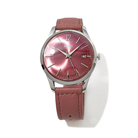 Henry London Hammersmith Pink Dial Leather Strap Watch