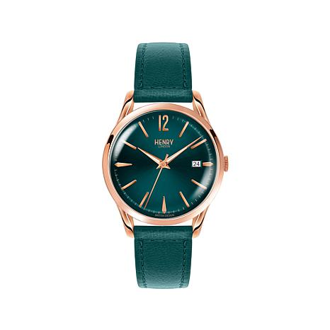 "Henry London ""Stratford"" Teal Dial Leather Strap Watch"