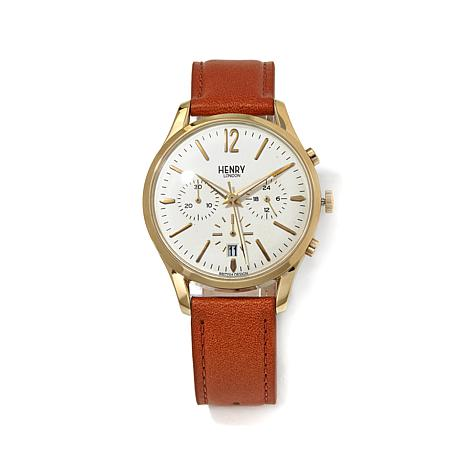 "Henry London ""Westminster"" Leather Strap Watch"