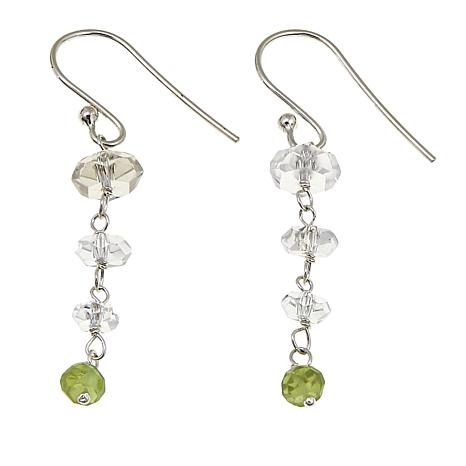 "Herkimer Mines 3.7ctw ""Diamond"" Quartz and Peridot Drop Earrings"