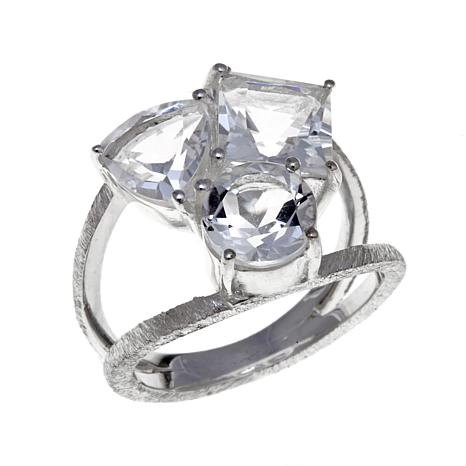 "Herkimer Mines 4.8ctw ""Diamond"" Quartz 3-Stone Sterling Silver Ring"
