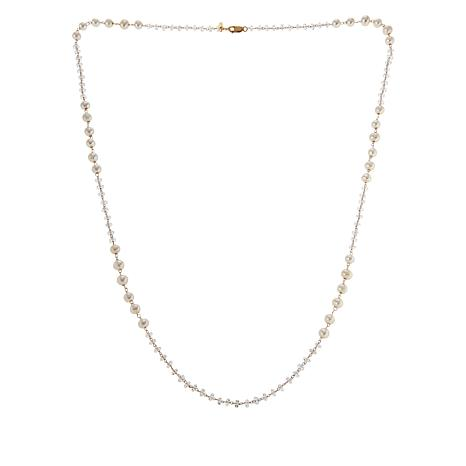 """Herkimer Mines """"Diamond"""" Quartz and Cultured Pearl Station Necklace"""