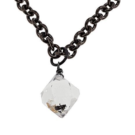 "Herkimer Mines ""Diamond"" Quartz Drop Black Rhodium Unisex Necklace"