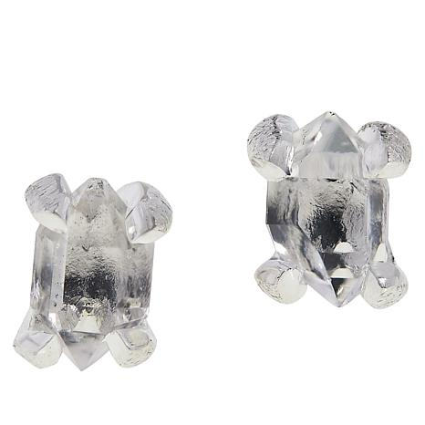 "Herkimer Mines ""Diamond"" Quartz Freeform Stone Stud Earrings"