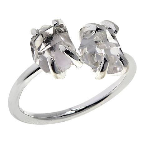 "Herkimer Mines ""Diamond"" Quartz Freeform Two-Stone Ring"