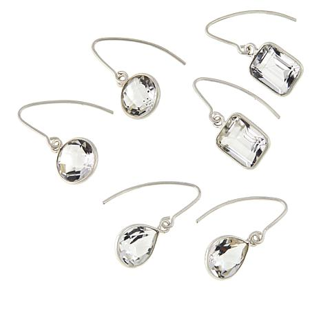 "Herkimer Mines Set of 3 Sterling Silver ""Diamond"" Quartz Drop Earrings"