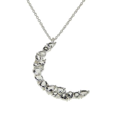 "Herkimer Mines Sterling Silver ""Diamond"" Quartz Crescent Moon Necklace"