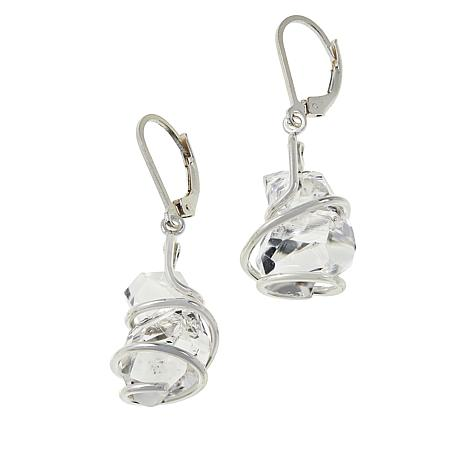 "Herkimer Mines Wire Wrapped Herkimer ""Diamond"" Quartz Drop Earrings"