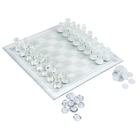 Hey! Play! Elegant Glass Chess and Checker Board Set Clear   Frosted