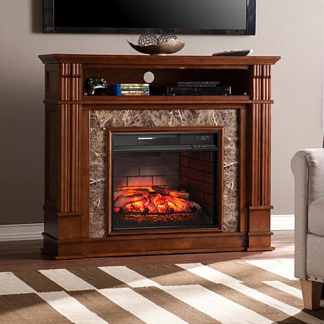 Shop Highgate Faux Stone Infrared Fireplace Media Stand - Whiskey Maple 8225155
