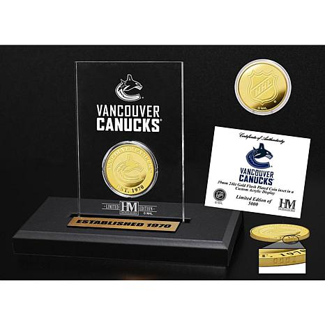 Highland Mint Vancouver Canucks Gold Coin Etched Acrylic