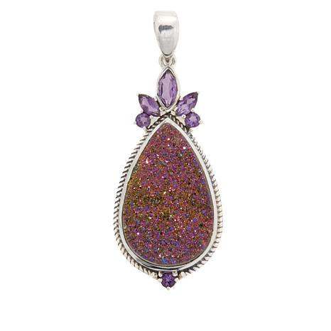 Himalayan Gems™ Copper-Pink Drusy and Amethyst Pendant