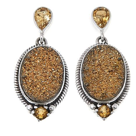 Himalayan Gems™ Goldtone Drusy and Citrine Oval Earrings