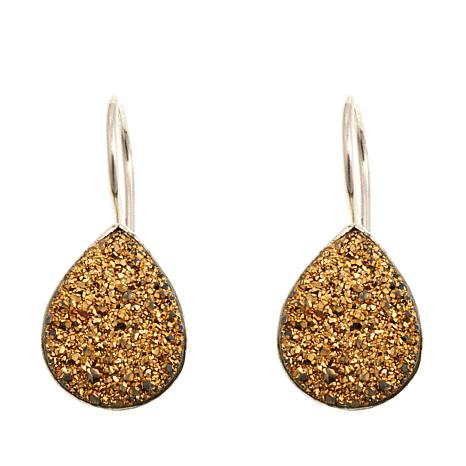 Himalayan Gems Goldtone Drusy Pear Shaped Earrings