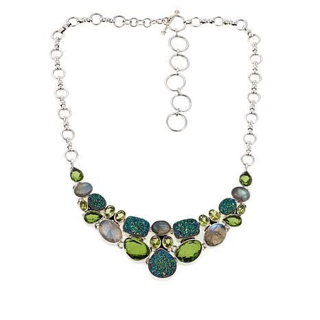Himalayan Gems™ Green Drusy and Multigemstone Necklace