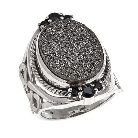 Himalayan Gems™ Marcasite-Tone Drusy & Spinel Ring