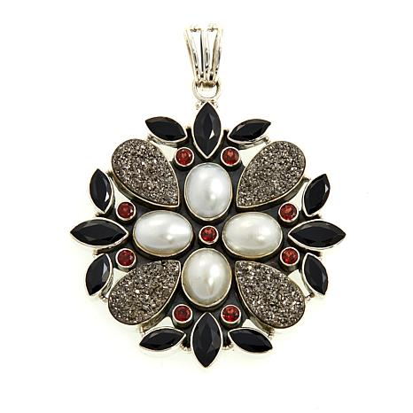 Himalayan Gems™ Marcasite-Tone Drusy  Floral Pendant