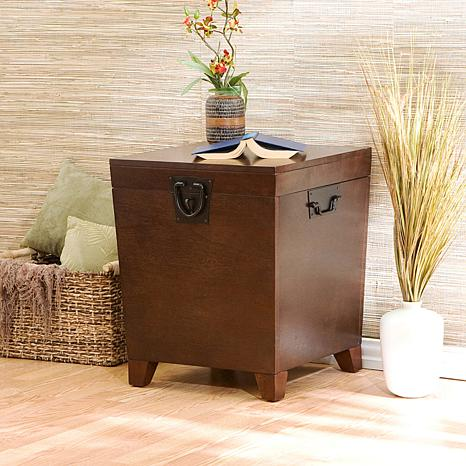 Espresso Pyramid Trunk End Table   6408424 | HSN