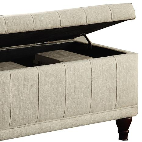 Home Origin Lift Up Fabric Storage Bench   7085279 | HSN