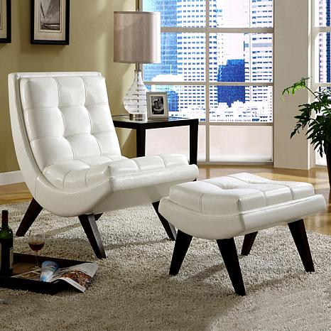 Home Origin Sophia Milky Chair With Ottoman In Faux